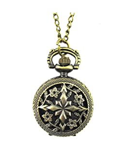 YouYouPifa Bronze Flowers Hollow Design Fashion Retro Small Pocket Watch (Bronze/Four Flower#1)