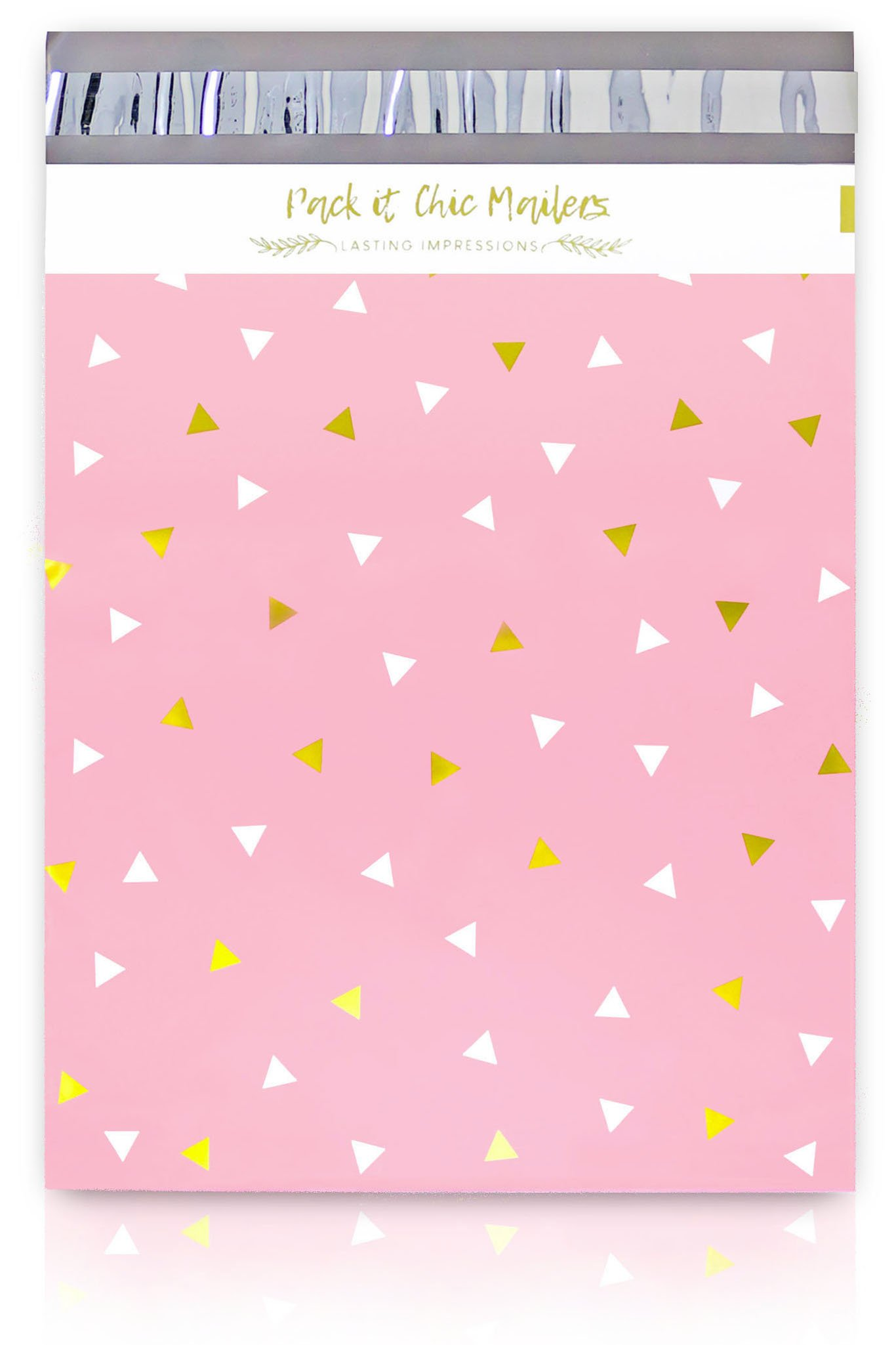 "Pack It Chic - 12"" X 15.5"" (100 Pack) Pink Gold Triangle Confetti Poly Mailer Envelope Plastic Custom Mailing & Shipping Bags - Self Seal (More Designs Available)"
