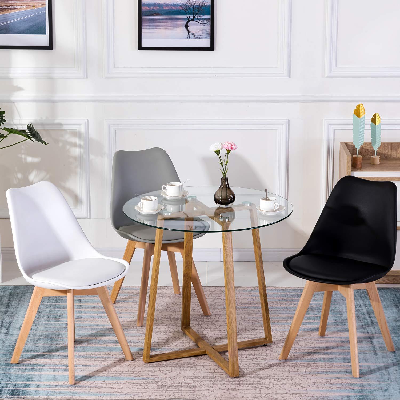 Dettagli su Tavolo da Pranzo in Vetro, Tavolo Cucina Rotondo Stile Nordico  Tavolino da caffè