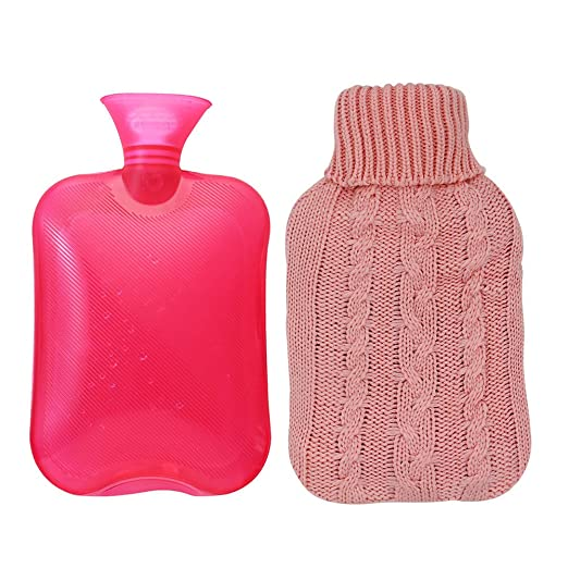 Transparent Hot Water Bottle by Samply 2 Liter PVC Hand Warmer with Knit Cover