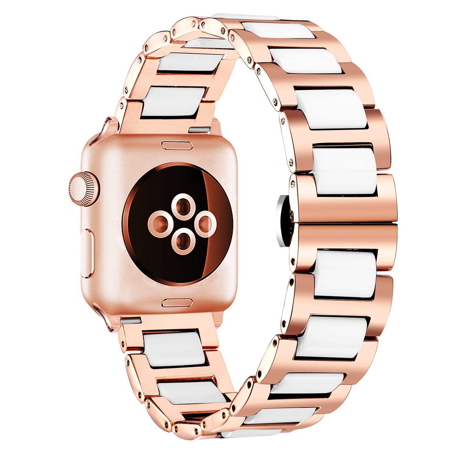Compatible for Apple Watch Band 38mm,42mm Replacement Stainless Steel & Ceramic Bracelet Straps Compatible Compatible for Apple iWatch Smart Watch ...