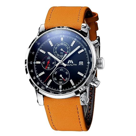 Relojes Hombre Relojes de Pulsera Deportivos Militar Cronografo Impermeable Negro Reloj de Acero Inoxidable Fecha Luminosos Analógico Negocios Vestido