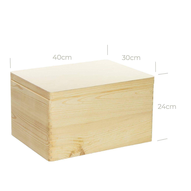 Serie: Niers 40x30x24cm FSC/® Frontmotiv LAUBLUST Erinnerungsbox Baby Personalisiert Natur Geschenk zur Geburt
