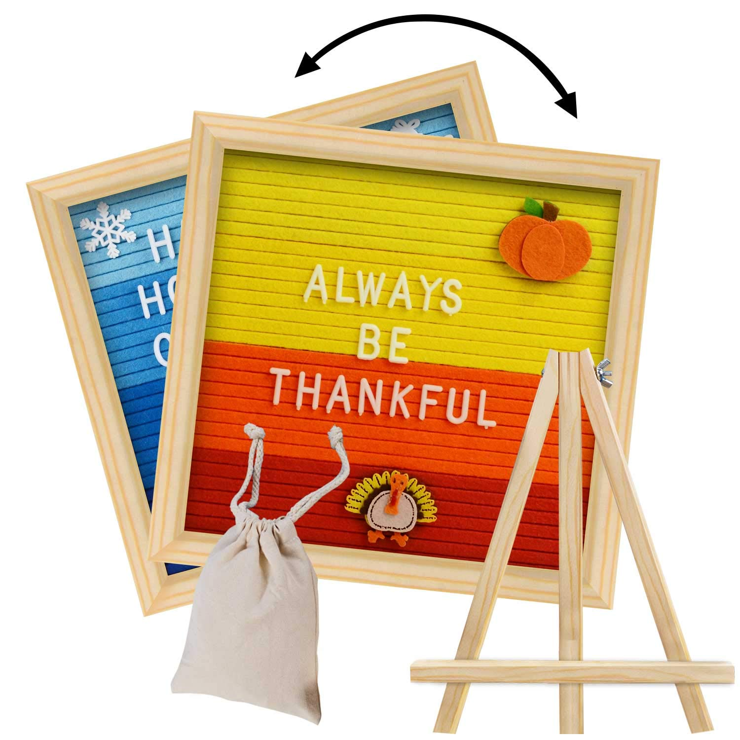 Double Sided Letter Board with 450 White Letters,Months & Days & Extra Cursive Words, Wall & Tabletop Display, Letter Bag, Write a Holidays Message for Thanksgiving & Christmas by Jocri