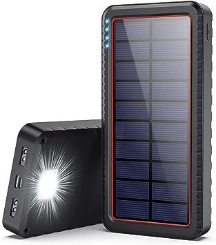 Cargador Solar 26800mAh, Batería Externa Solar con Entrada Tipo C y 2 Salidas USB, Power Bank Solar de Carga Rápida con Linterna LED Para iPhone ...