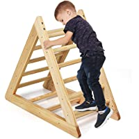 GLACER Wooden Climbing Triangle Ladder, Toddler Triangle Climber with 3 Different Climbing Ladders for Kids 3 Years Old…