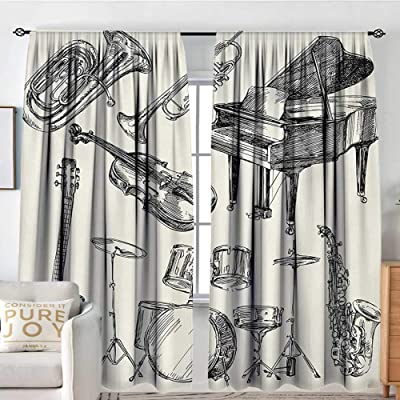 "Petpany Window Curtains Jazz Music,Collection of Musical Instruments Sketch Style Art with Trumpet Piano Guitar,Beige Black,for Room Darkening Panels for Living Room, Bedroom 84""x100"": Home & Kitchen"