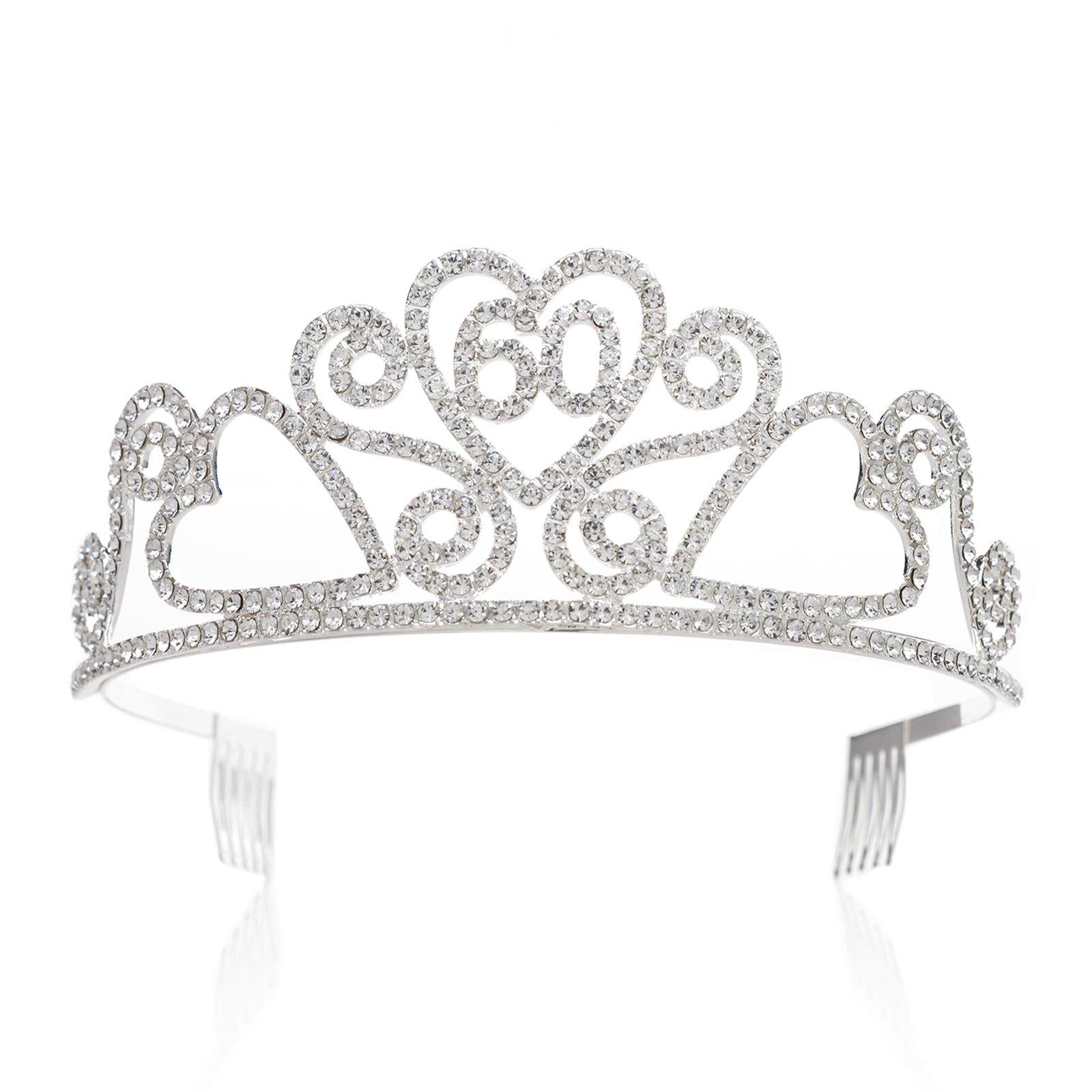 SWEETV Rhinestone Tiara Birthday Crown Princess Party Hat Hair Accessories 15/16/18/21/30/40/50/60/70th Birthday Gift, 60th
