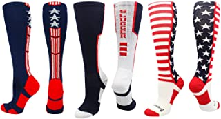 product image for MadSportsStuff Patriot USA Flag Stars and Stripes Over The Calf Socks
