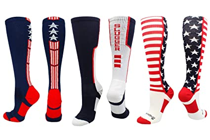 4b654e5b5 MadSportsStuff Stars and Stripes USA American Flag Baseball Socks 3 Pack  Combo (3 Pack-