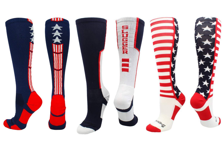 MadSportsStuff Stars and Stripes USA American Flag Baseball Socks 3 Pack Combo (3 Pack-Multi, Small)