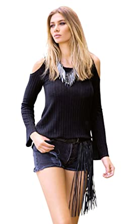 eef1dee906a8ae ELAN Women s Wide Rib Knit Cold Shoulder Pull Over Hoodie at Amazon Women s  Clothing store