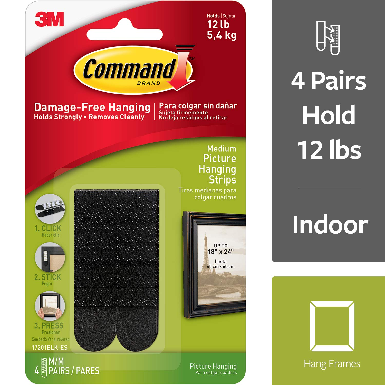 Command Picture Hanging Strips, 6-packages (24 pairs total) (17201BLK-ES)