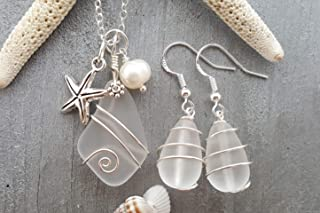 "product image for Wire wrapped""Crystal"" sea glass Necklace+Earrings Set,""April Birthstone"", starfish charm, freshwater pearl, (Hawaii Gift Wrapped, Customizable Gift Message)"
