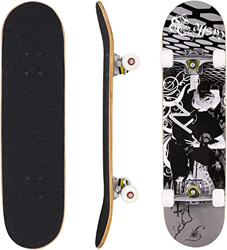 ANCHEER Skateboard Wood Concave Double Kick Complete Skate Board 31 Inch