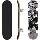 "Ancheer 31"" Pro Skateboard Complete 9 layer Canadian Maple Wood Double Kick Concave Skate Board"