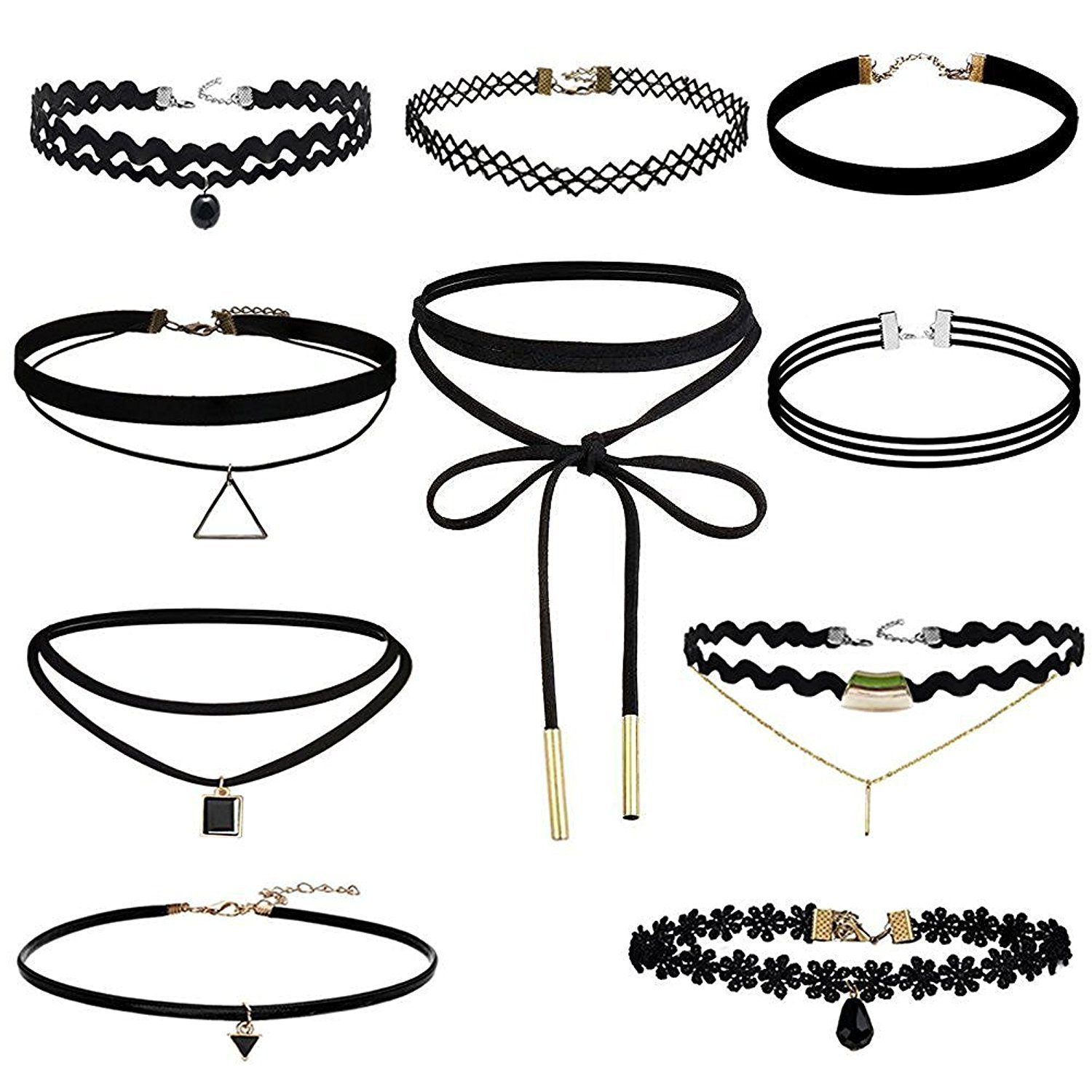 Eschone 10pcs Choker Necklace for Girls Lace Choker Gothic Little Princess Fashion Jewelry, Black