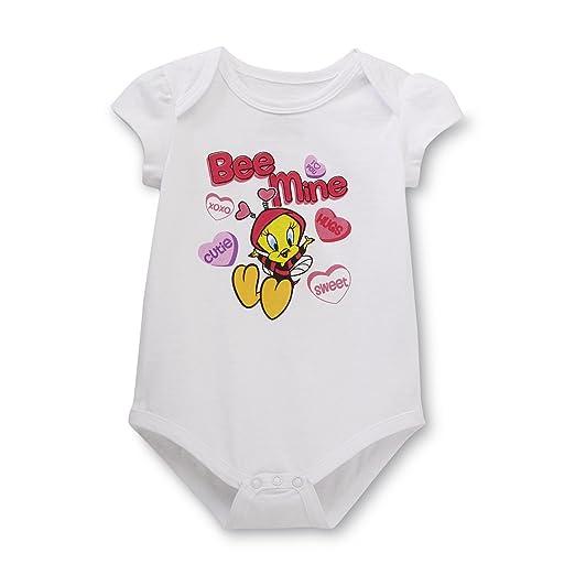 20248af68 Warner Brothers Baby Newborn Girl's Valentine's Day Bodysuit - Tweety Bird  Dress Up Outfit (Newborn