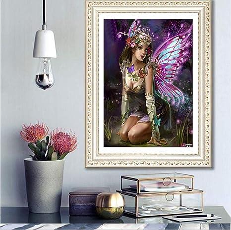 5D Diamond peinture papillon fée strass mosaïque perles Art Living Room Decor