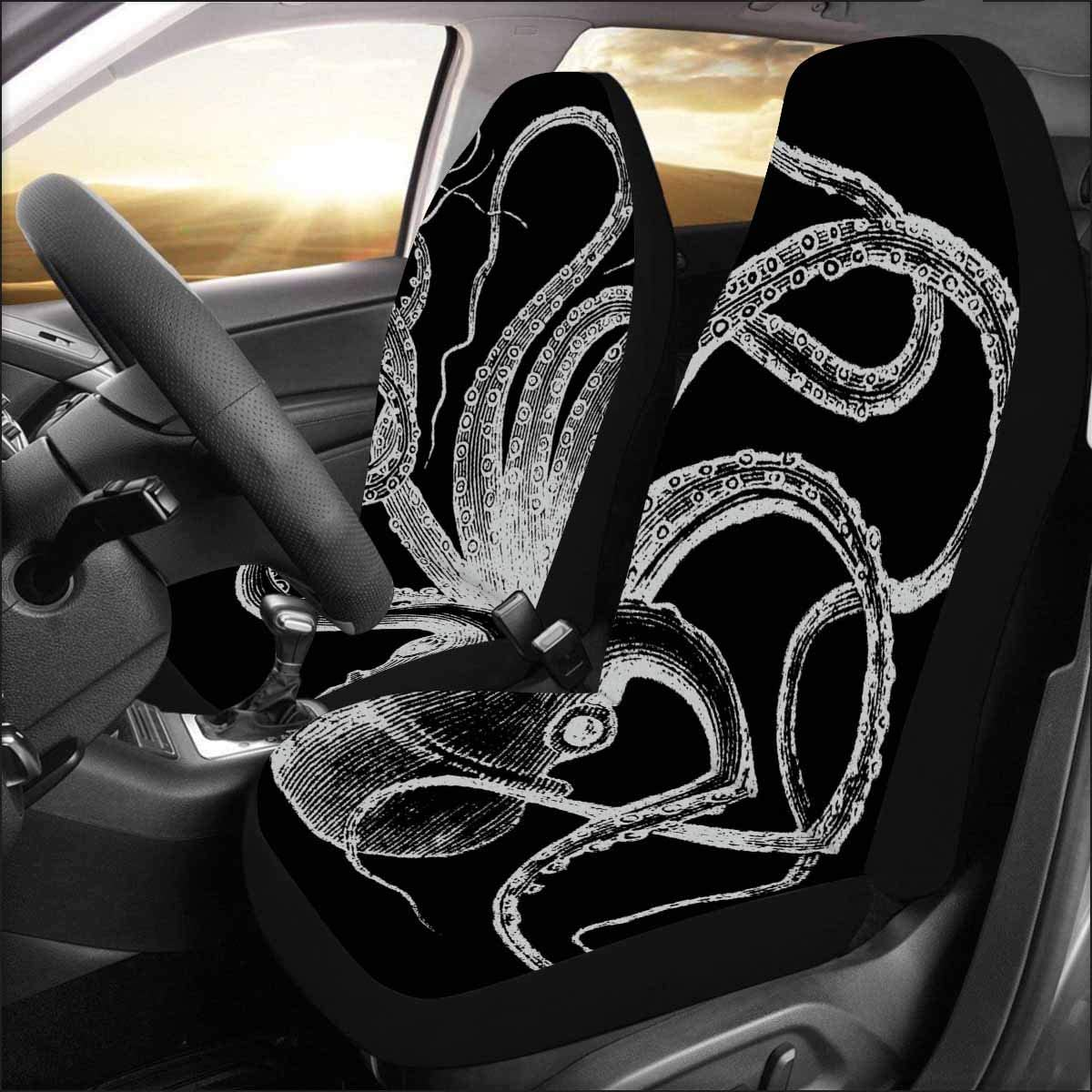 INTERESTPRINT Car Seat Covers Each Piece with Different Printing Common Octopus