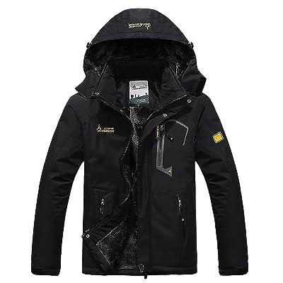Pooluly Men's Waterproof Windproof Rain Snow Jacket Hooded Fleece Ski Coat: Clothing
