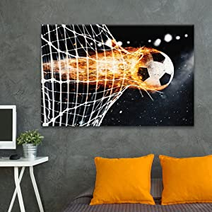 wall26 - Canvas Wall Art Sports Theme - Soccer Fire Breaking Through The Net - Giclee Print Gallery Wrap Modern Home Decor Ready to Hang - 24x36 inches