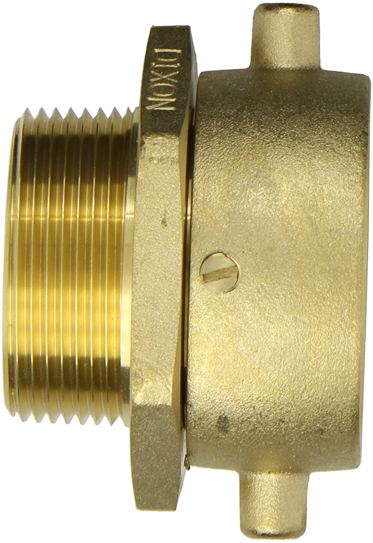 1-1//2 NPSH Female x 1-1//2 NPT Male Dixon Valve SM150S Brass Fire Equipment Swivel Adapter with Pin Lug