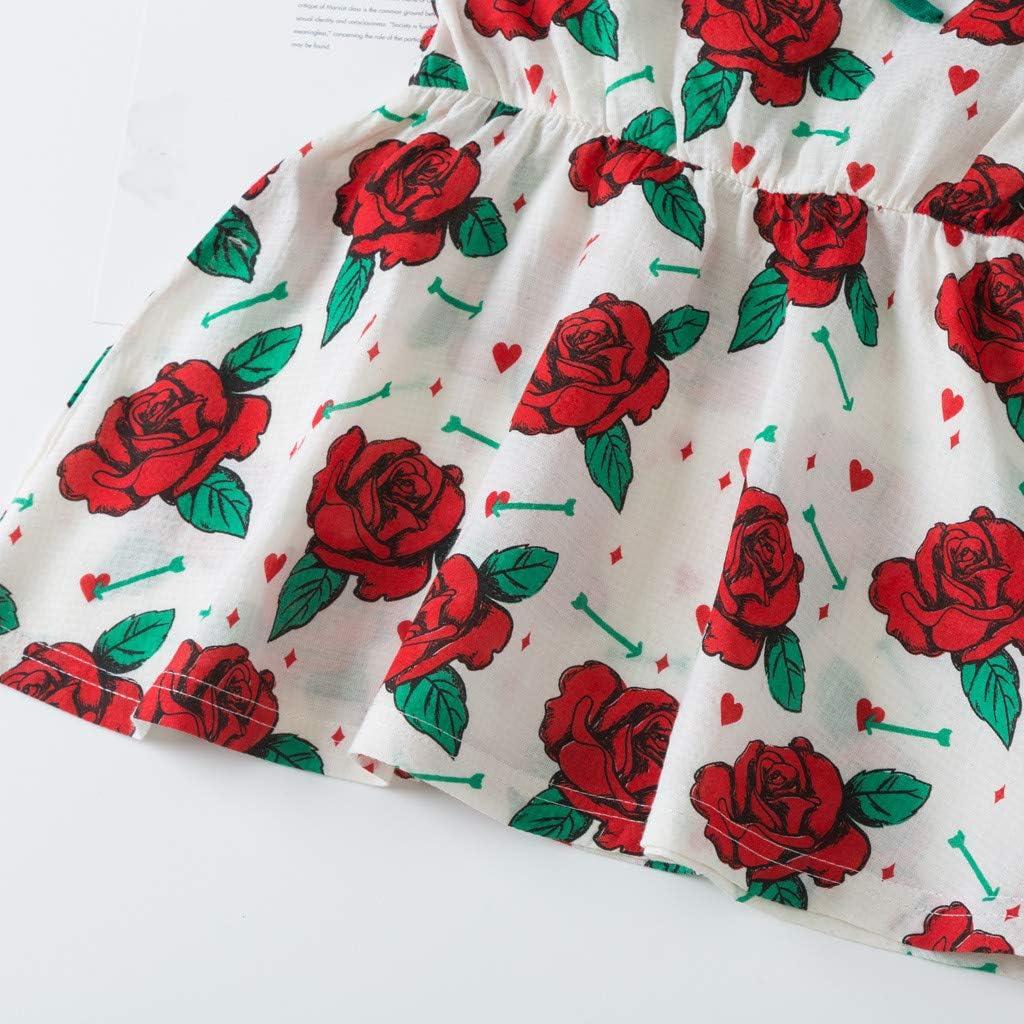 Julhold Baby Kinder M/ädchen Sch/öne Kleinkind Print /Ärmellose Blumen Party Prinzessin Baumwolle Kleider Kleidung 0-4 Jahre