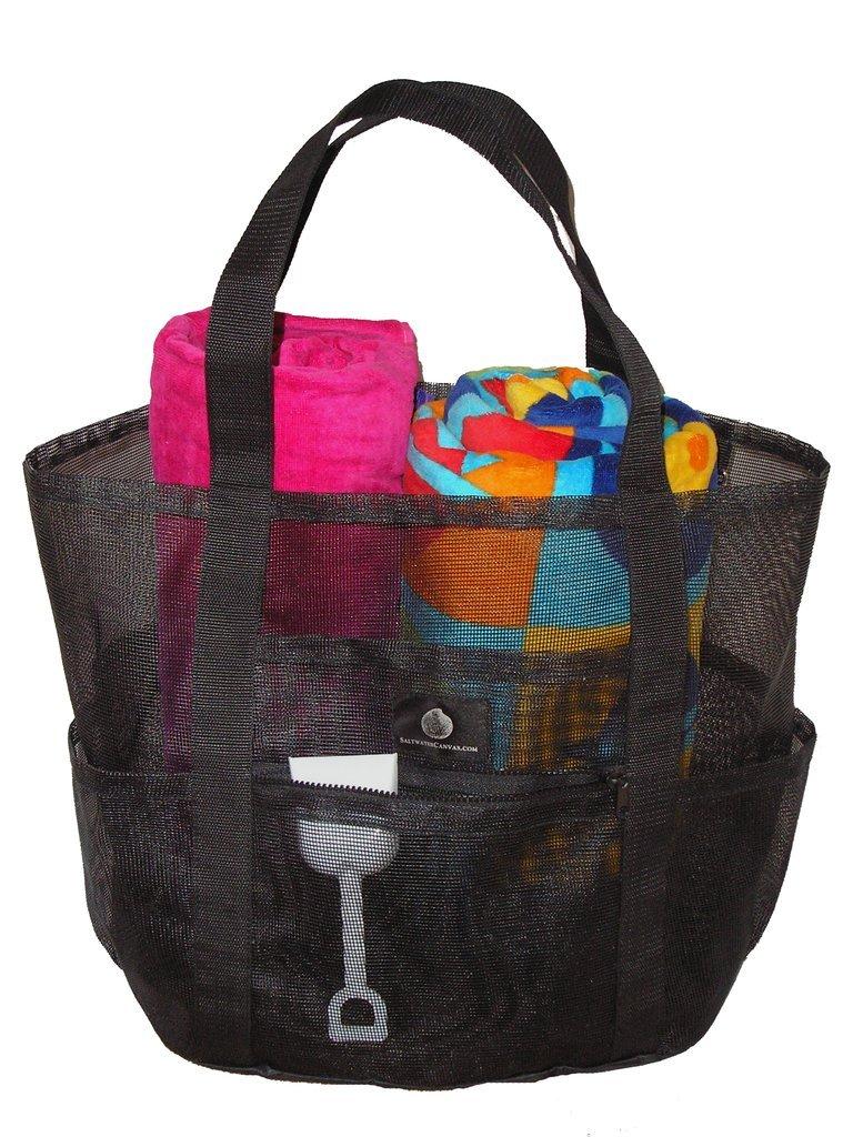 Saltwater Canvas Mesh Whale Bag Lite (R), Sandproof base, 9 pockets, Large Black