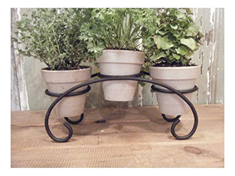 Herb Kitchen Garden Bridge 3 Pot Wrought Iron Kit Window Planter Display  Brown