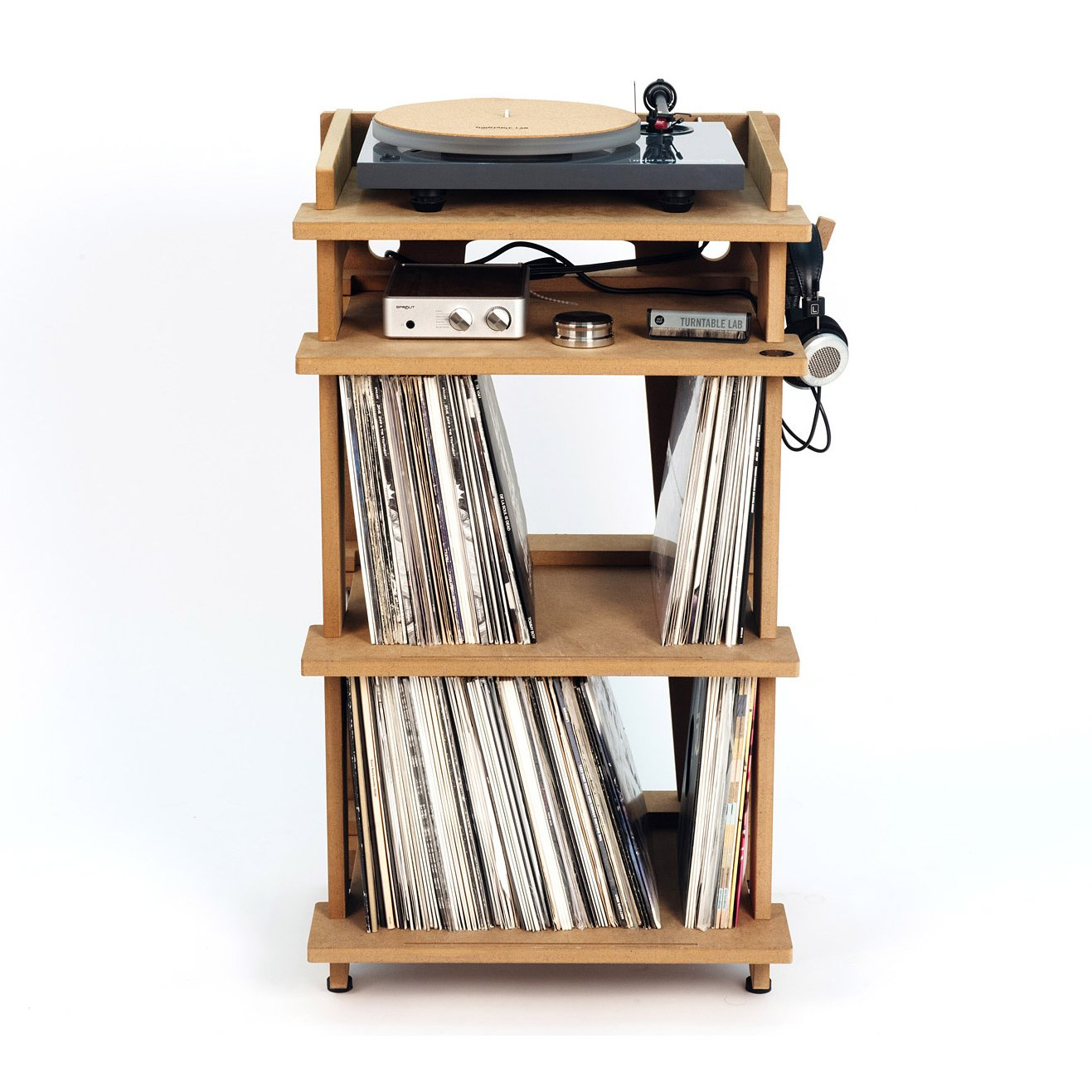 Line Phono Turntable Station Turntable Stand + Vinyl Record Storage, Made In The USA - Natural Colorway