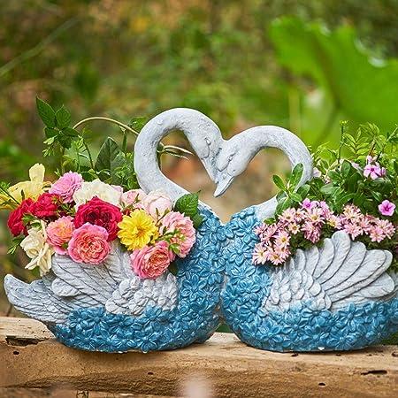 AFCITY-Garden Figurines para jardín, Decoración en Maceta Verde carnoso Cisne Tiesto Patio del jardín de la Sala con la Flor Azul Adorno para Jardines en Miniatura (Color : Azul, tamaño : 65x19x37cm):