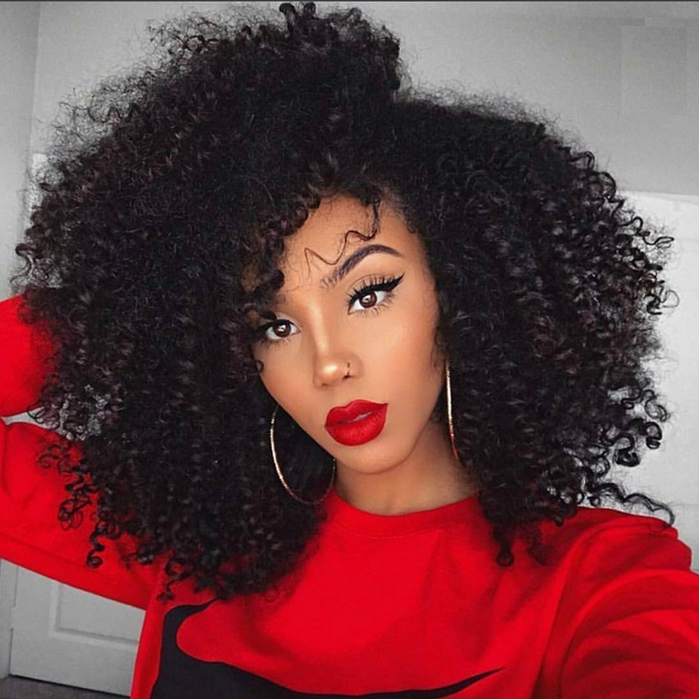 Afro Kinky Curly Human Hair Wig 100% Real Hair Brazilian Hair Glueless Lace Frontal Wigs 180 Density Natural Color from Dream Beauty for women (16'', lace frontal wig) by Dream Beauty (Image #1)