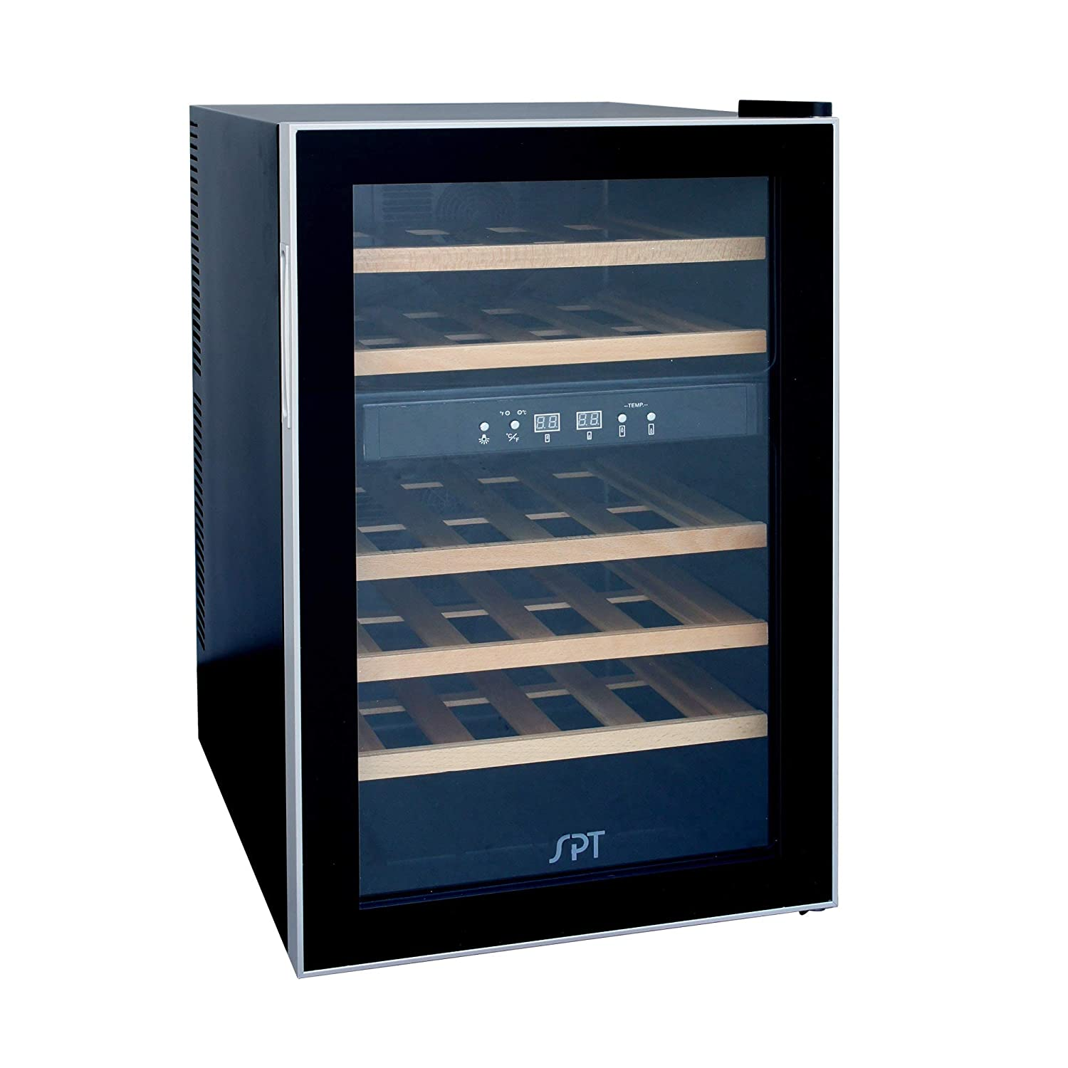SPT WC-2463W Dual-Zone Thermo-Electric Wine Cooler with Wooden Shelves (24 Bottles)