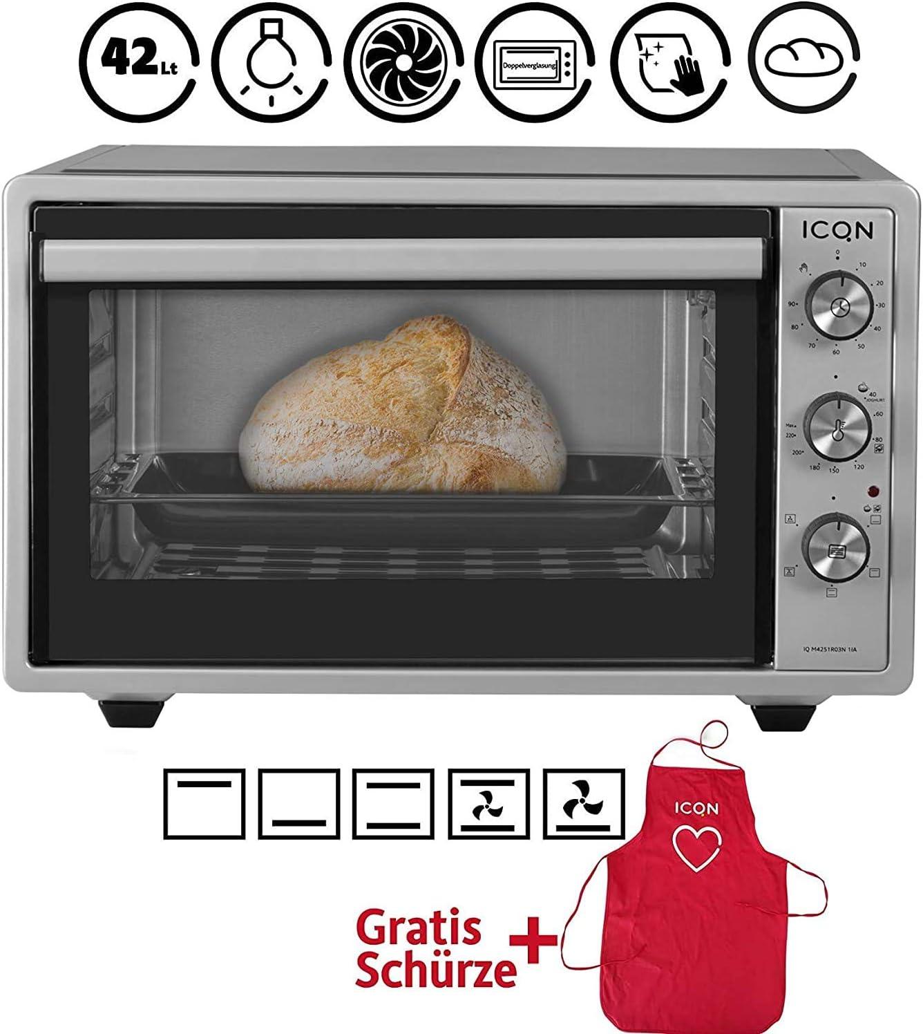 ICQN mini horno con aire forzado | Horno de pizza | Mini horno | Iluminación interior Doble acristalamiento | Función de temporizador | Esmaltado (Inox gris, 42 litros)