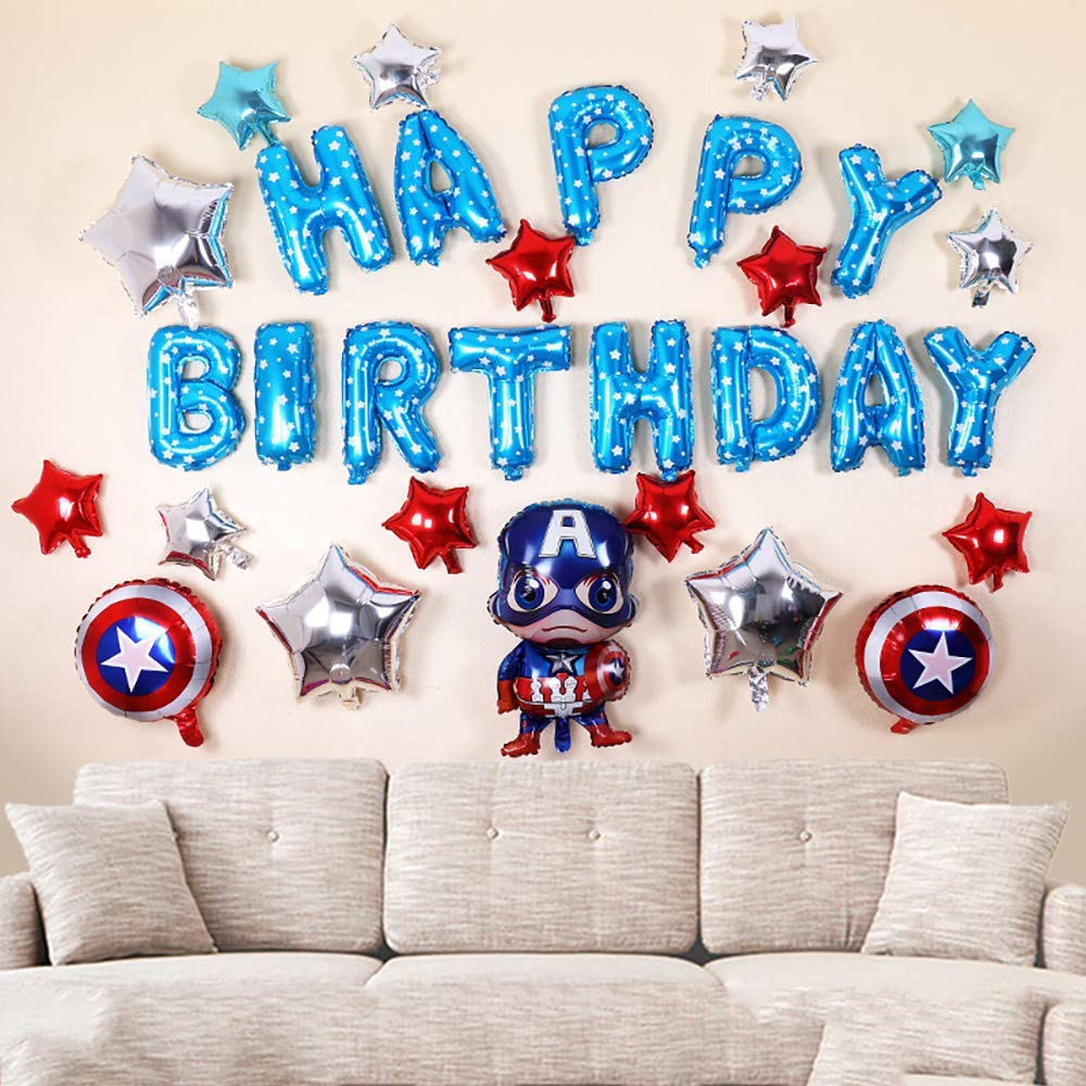 CuteTrees Super Hero Captain America 1st 2nd 3rd 4th 5th 6th 7th 8th 9th Happy Birthday Balloons set for birthday party birthday decoration birthday supplies 31 pcs
