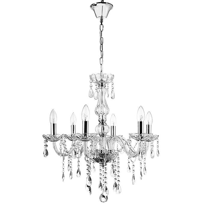 cooshional Lámpara de Techo Cristal 6 Brazos Luces Lámpara Salón Comedor Pasillo y Dormitorio