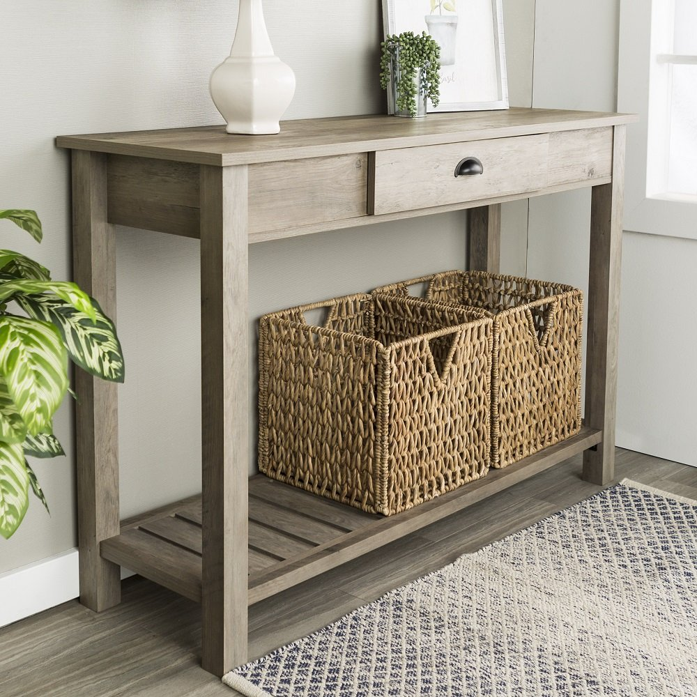 New 48 Inch Wide Country Style Sofa Table in Gray Wash Finish by Home Accent Furnishings