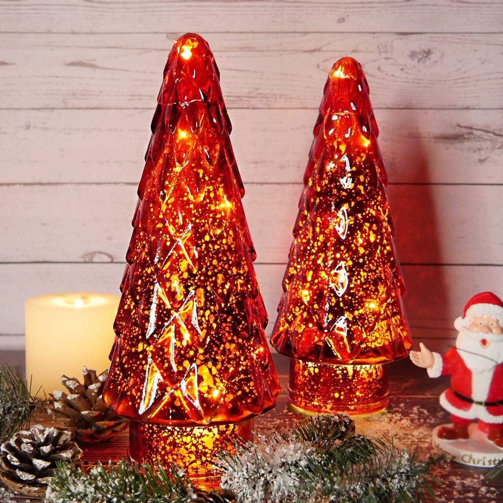 MJ PREMIER Glass Lighted Christmas Tree, Upgrade Battery Operated Mercury Glass Tree Christmas Decoration Decor Xmas for Tabletops, Indoor Outdoor RED -2 Pack