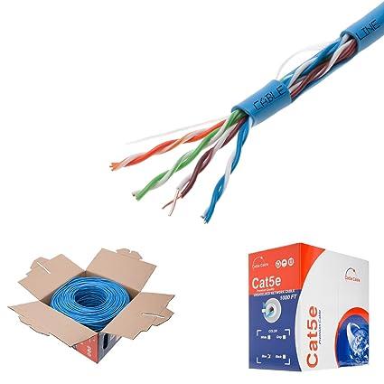 Pleasing Amazon Com 1000Ft Cat5E Blue Solid 24Awg Cable Utp Cat5 Bulk Wiring 101 Ferenstreekradiomeanderfmnl