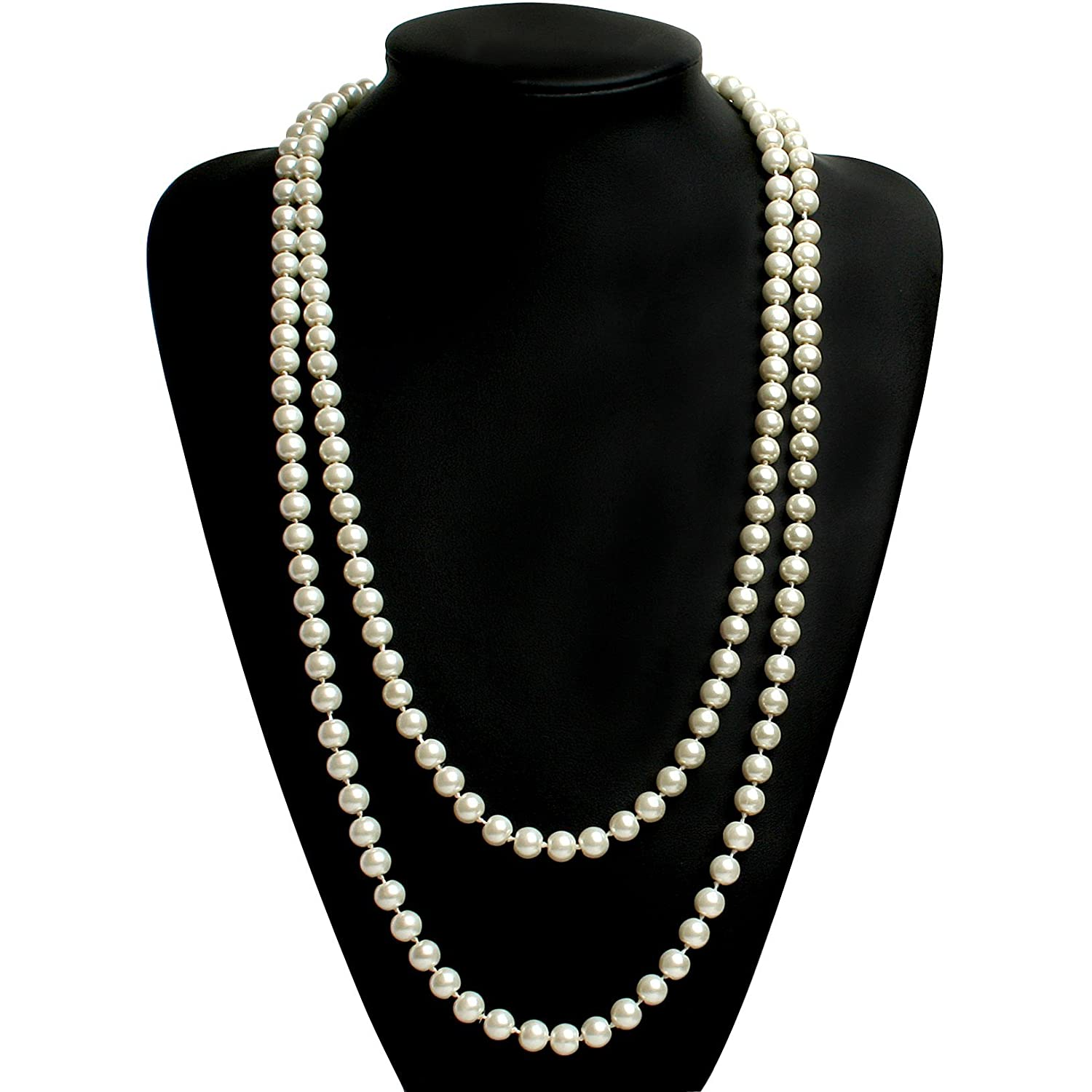 1920s Jewelry Styles History BABEYOND ART DECO Fashion Faux Pearls Flapper Beads Cluster Long Pearl Necklace 55 Diameter of Pearl 0.315