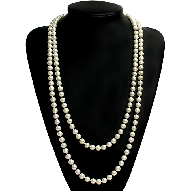 Roaring 20s Costumes- Flapper Costumes, Gangster Costumes Babeyond ART DECO Fashion Faux Pearls Flapper Beads Cluster Long Pearl Necklace 55 $7.99 AT vintagedancer.com