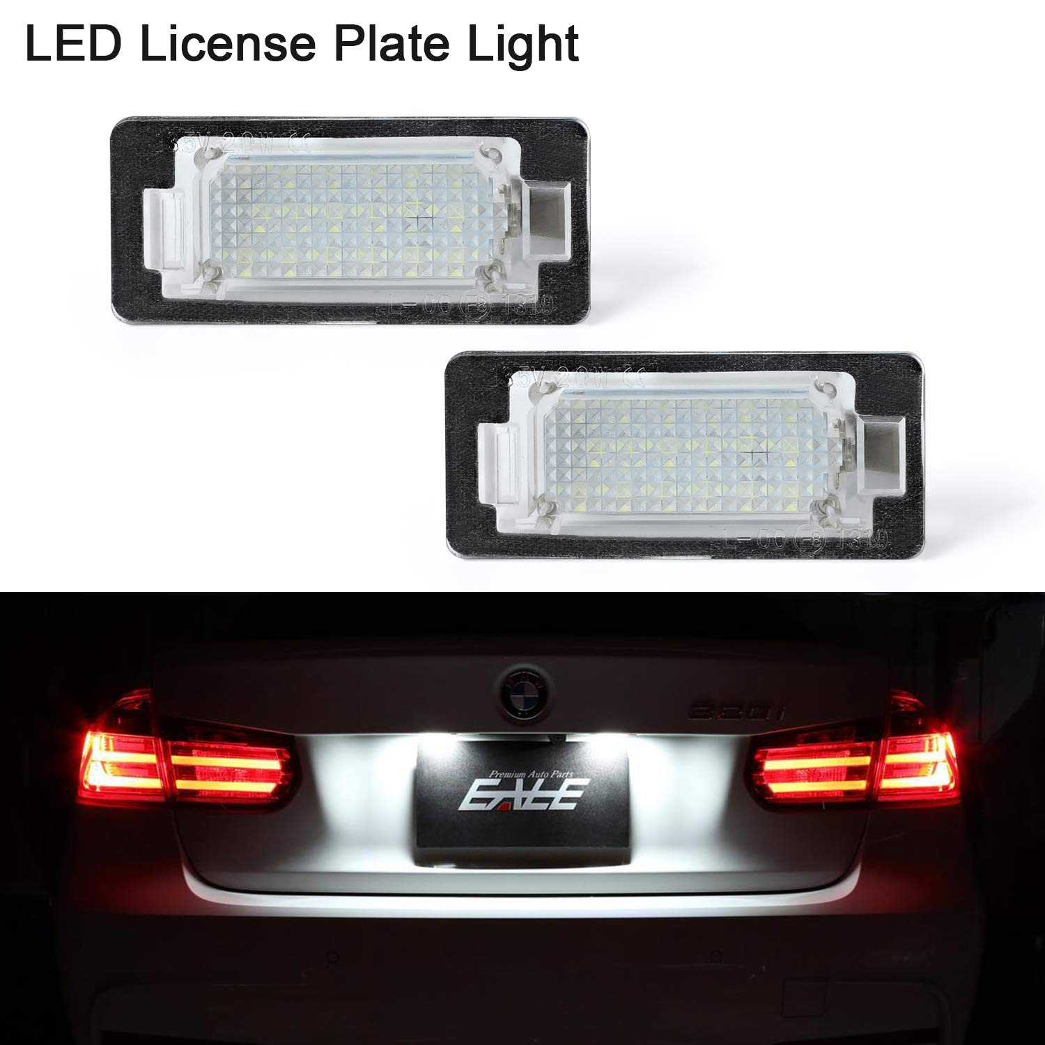 LED Number Plate Light,Gempro 2 Pack 18 SMD LED Lights with Built-In  CAN-bus Resistor and Error Free Waterproof Energy Saving License Plate  Light