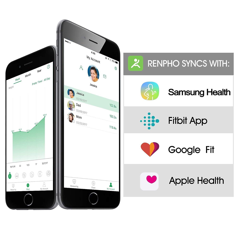RENPHO Bluetooth Body Fat Scale Smart BMI Scale Digital Bathroom Wireless  Weight Scale, Body