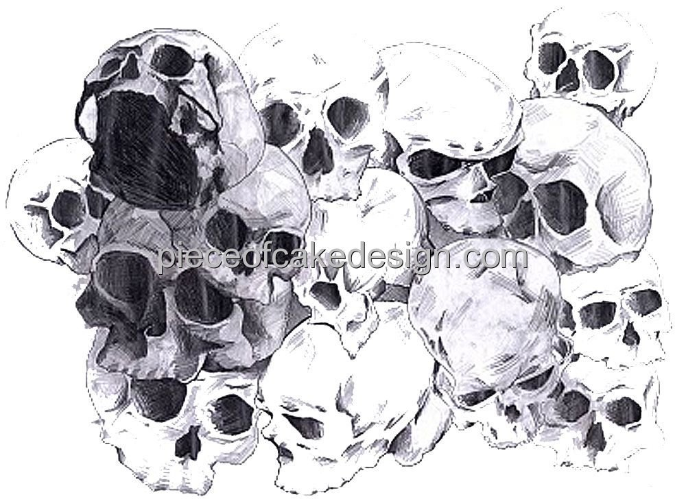 6 Round Cluster Of Skulls Drawing Birthday Edible Cake Cupcake