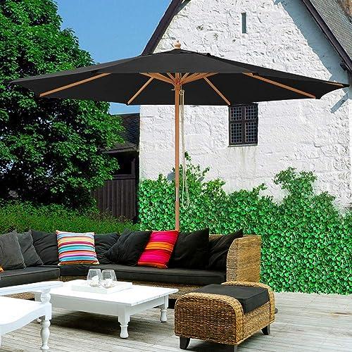 Yescom XLarge Shade 13Ft Wood Patio Umbrella 8 Rib Heavy