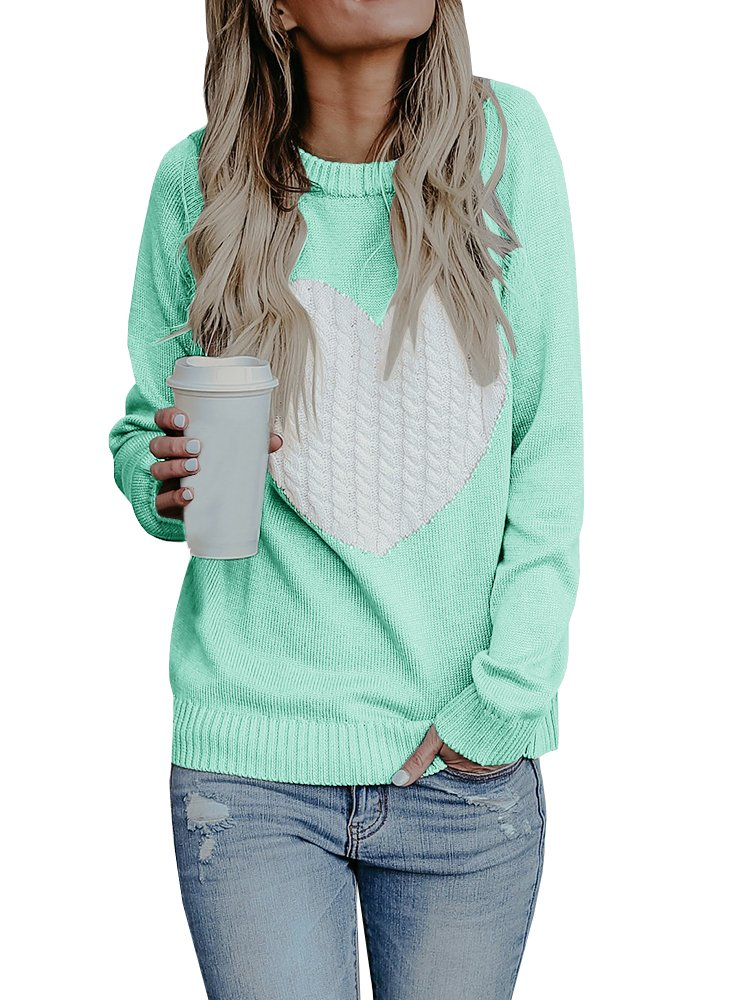 Bbalizko Womens Casual Pullover Sweater Long Sleeve Crew Neck Heart Printed Knit Sweater Tunic Tops (Large, Green)