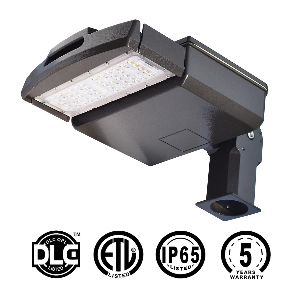 KAWELL 50 W Shoebox Pole Light, Led Parking Lot Light, Commercial Grade Outdoor Site Area Led Street Light 5500 LM 4800-5300K, ROHS,CE,ETL,DLC Listed, 5 Years Warranty