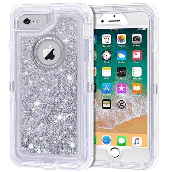 innovative design 19121 f2ab1 iPhone 6S Plus Case, iPhone 6 Plus Case, Anuck 3 in 1 Hybrid Heavy Duty  Defender Case Sparkly Floating Liquid Glitter Protective Hard Shell  Shockproof ...