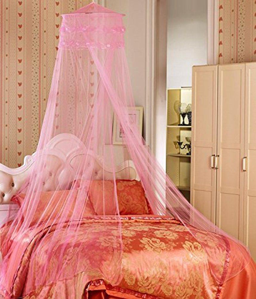 YYGIFTラウンドレースカーテンドームベッドキャノピーネッティングプリンセスMosquito Net ピンク  ピンク B00R5MFZWY